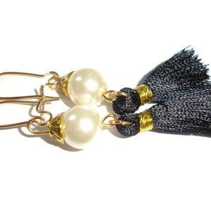 Off white pearl earrings pearl tassel earrings cre